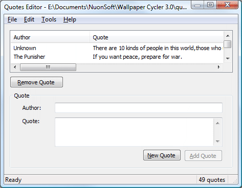 You Can Start A New Quote File Open An Existing Or Save The Current With Menu Edit Allows To Find Quotes Based On